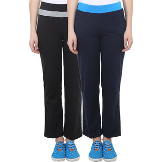 Vimal Black Navy Blue Cotton Blend Trackpant For Women ( Pack Of 2) (F2BLACK-F3NAVY-02)
