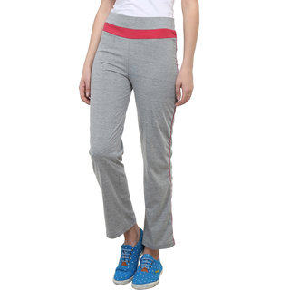 Vimal Grey Melange Cotton Blend Trackpant For Women (F2MELANGE01)