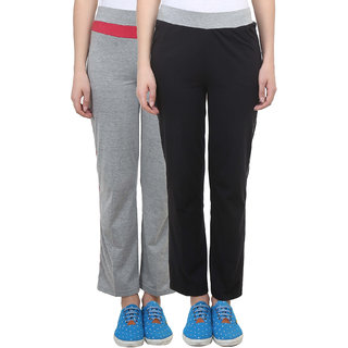 Vimal Black Grey Melange Cotton Blend Trackpant For Women ( Pack Of 2) (F2MELANGE-F3BLACK-02)