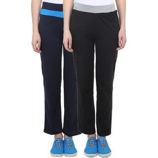 Vimal Black Navy Blue Cotton Blend Trackpant For Women ( Pack Of 2) (F2NAVY-F3BLACK-02)