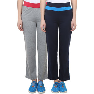 Vimal Grey Melange Navy Blue Cotton Blend Trackpant For Women ( Pack Of 2) (F2NAVY-F3MELANGE-02)