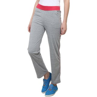 Vimal Grey Melange Cotton Blend Trackpant For Women (F3MELANGE01)