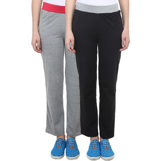 Vimal Black Grey Melange Cotton Blend Trackpant For Women ( Pack Of 2) (F3MELANGE-F3BLACK-02)