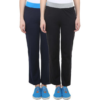 Vimal Black Navy Blue Cotton Blend Trackpant For Women ( Pack Of 2) (F3NAVY-F3BLACK-02)