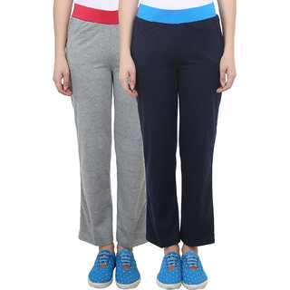 Vimal Grey Melange Navy Blue Cotton Blend Trackpant For Women ( Pack Of 2) (F3NAVY-F3MELANGE-02)