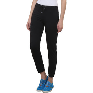 Vimal Black Cotton Blend Trackpant For Women (F4BLACK01)