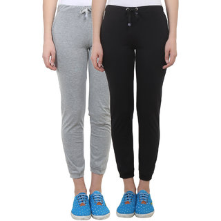 Vimal Black Grey Melange Cotton Blend Trackpant For Women ( Pack Of 2) (F4BLACK-F4MELANGE-02)