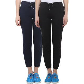Vimal Black Navy Blue Cotton Blend Trackpant For Women ( Pack Of 2) (F4BLACK-F4NAVY-02)