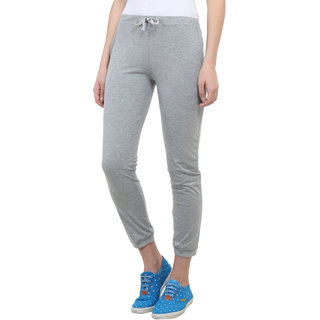 Vimal Grey Melange Cotton Blend Trackpant For Women (F4MELANGE01)