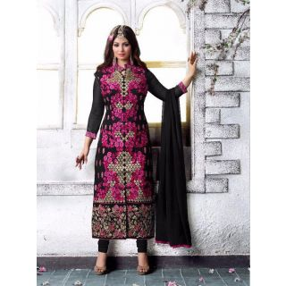 RapidDukan Un-Stitched Black Color Straight Salwar Suit Dupatta Material SF573