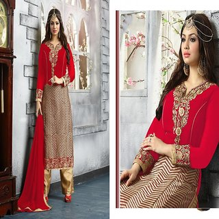 RapidDukan Un-Stitched Red Color Straight Salwar Suit Dupatta Material SF574