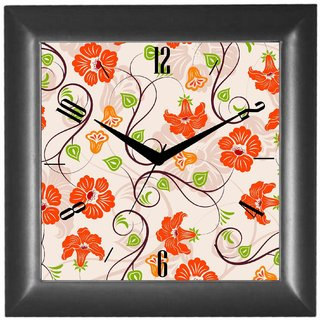 Cartoonpur Analog Square 10 Inch Aster Wall Clock With Glass(CPSB11426)