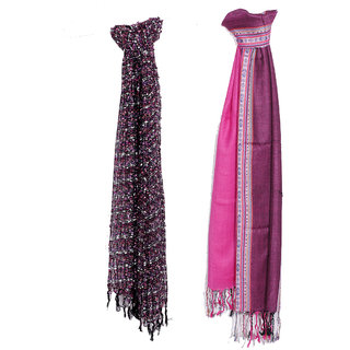 IndiWeaves Women Soft Luxurious Viscose Stole for All Seasons- Set of 2-8028080313-IW-ST