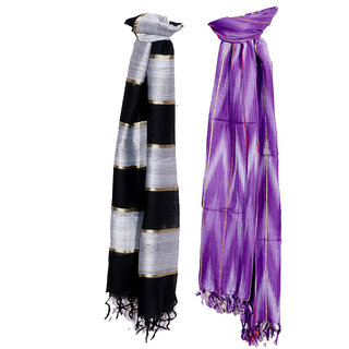 IndiWeaves Women Soft Luxurious Viscose Stole for All Seasons- Set of 2-8032280335-IW-ST