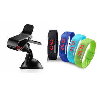 Universal Car Mobile Holder + Stylish Waterproof Sports Digital Silicon Watch