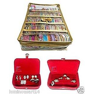 Atorakushon Combo Gold Satin 5 Rods Bangle box Jewellery Ring Earring
