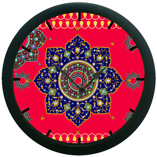 AE World Red Ethnic Wall Clock (With Glass)