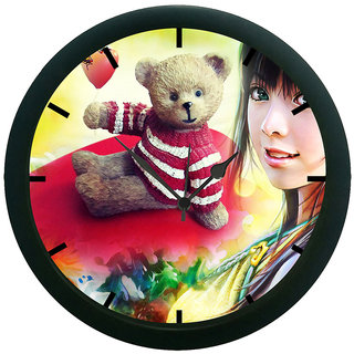 AE World Abstract Teddy Wall Clock (With Glass)