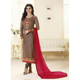 RapidDukan Un-Stitched Brown Color Straight Salwar Suit Dupatta Material SF579