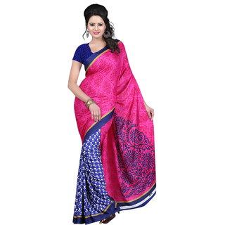 Kajal Sarees Multicolor Georgette Art Silk Floral Print Saree With Blouse