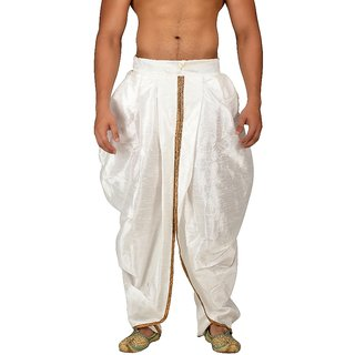 Pariwar Mens Offwhite Silk redymade Rajesthani style Dhoti with Shimmer Pipein