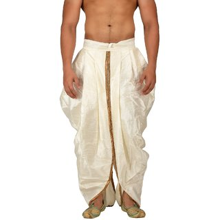 Pariwar Mens Cream Silk redymade Rajesthani style Dhoti with Shimmer Pipein