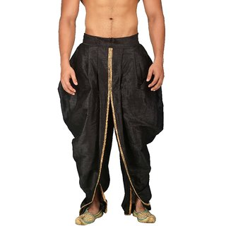 Pariwar Mens Black Silk redymade Rajesthani style Dhoti with Shimmer Pipein