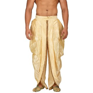 Pariwar Mens Beige Silk redymade Rajesthani style Dhoti with Shimmer Pipein