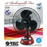 "Orbit12"" Rechargeable Fan 2 speed Oscillation AC DC fan with lights"