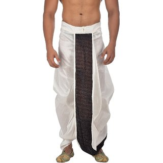 Pariwar Mens Offwhite Silk redymade Dhoti with front satin patch work.