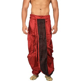 Pariwar Mens Mahroon Silk redymade Dhoti with front satin patch work.