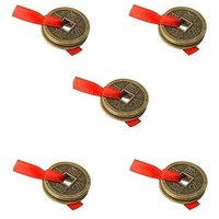 5 Sets Of 3 Lucky Coins Tied In Red Ribbon - Feng Shui