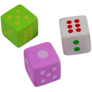 Saamarth Impex 3 Pcs Multi Color Ludo design Rubber Eraser SI-045