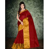 Suchi Fashion Red  Gold Polyster Saree