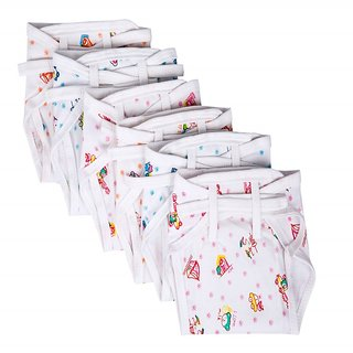 Baby Joy New Just Born Hosiery Printed Cotton Diaper/Langot Cushioned Padded Nappies Mini 6 pcs Multicolor(0-3 Months)