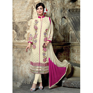 RapidDukan Un-Stitched Cream Color Straight Salwar Suit Dupatta Material SF582