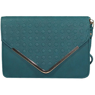 BagsHub Blue Diamond Patterned Envelope Sling Bag