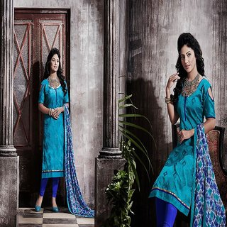RapidDukan Un-Stitched Sky Blue Color Straight Salwar Suit Dupatta Material SF586