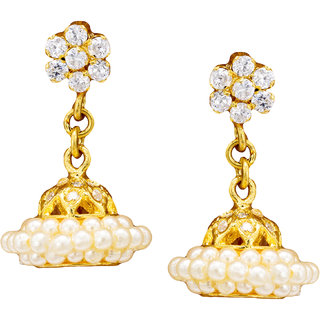 Pearls Cart Ethnic Ad Stone Studded Earrings (Ad)