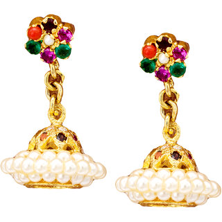 Pearls Cart Ethnic Ad Stone Studded Earrings (Navratna)