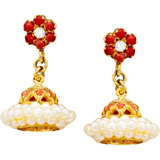 Pearls Cart Ethnic Ad Stone Studded Earrings (Ad Coral)