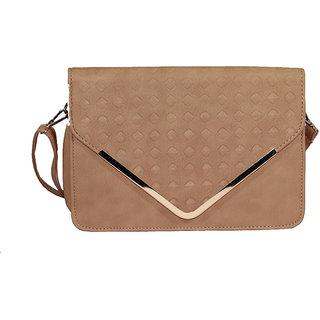 BagsHub Brown Diamond Patterned Envelope Sling Bag