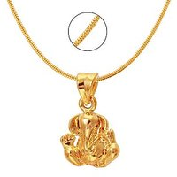 Mahi Exa Collection Ganesh Gold Plated Religious God Pendant with Chain for Men  Women PS6012012G