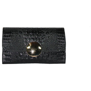 BagsHub Solid Black Croc Embossed sling-cum-clutch Bag