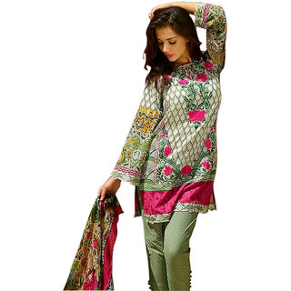 Pulp Mango Medias Pakistani Style Cambric Cotton Printed and Embroidered Dress Material with Chiffon Dupatta