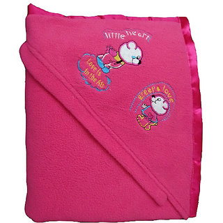 Garg Antipilling Double Layer Hooded Pink Baby Blanket