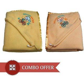 Garg Antipilling Double Layer Hooded Lemon  Peach Baby Blanket Combo