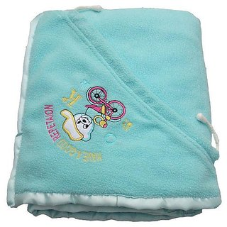 Garg Antipilling Double Layer Hooded Blue Baby Blanket - Assorted Hood Design