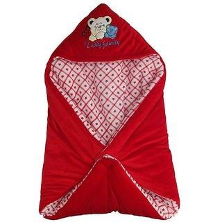 Garg Teddy Family Hooded Shearing Velvet Red Baby Blanket