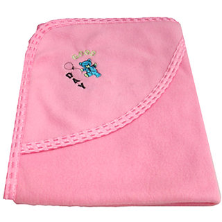 Garg Good Day Hood And Lace Border Lining Pink Baby Blanket